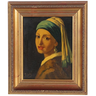 "Oil Painting after Johannes Vermeer ""Girl with a Pearl Earring"""