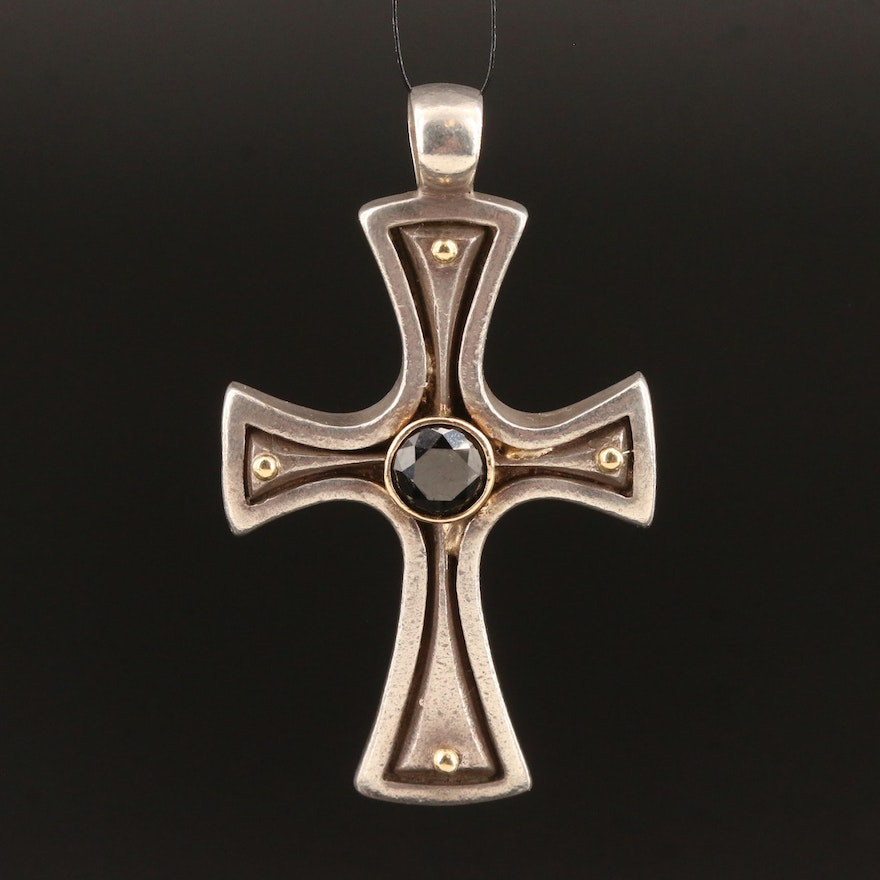 Konstantino Sterling Silver Diamond Cross Pendant with 18K Accent