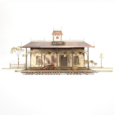 C. Jeré Copper and Brass Sculpture of Azusa Train Station, 1970s
