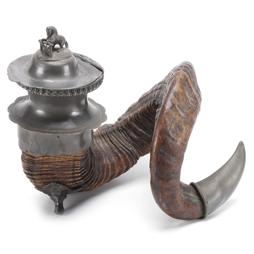 Scottish Ram's Horn Snuff Mull with Metal Horse Finial