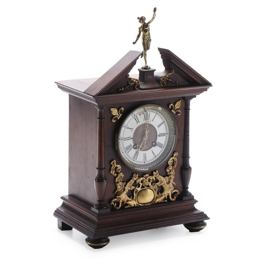 John Walker Wooden Mantel Clock with Brass Hermes and Greek Sphinx Accents