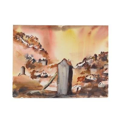 Kathleen Zimbicki Abstract Watercolor Painting, 1978