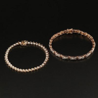 Sterling Silver Diamond Line Bracelet and X Link Bracelet