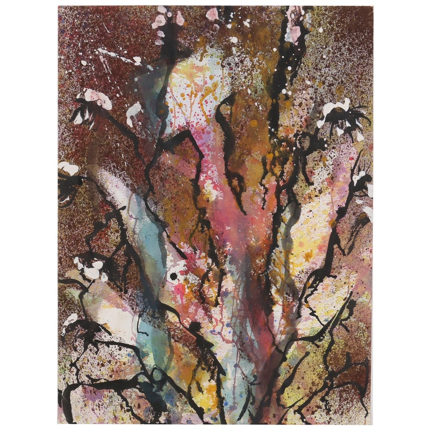 Kathleen Zimbicki Double-Sided Abstract Watercolor Painting