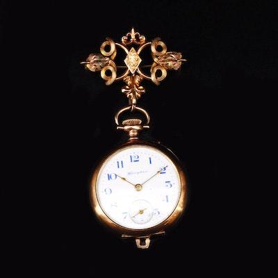 1904 Hampden Gold Filled Convertible Pocket Watch