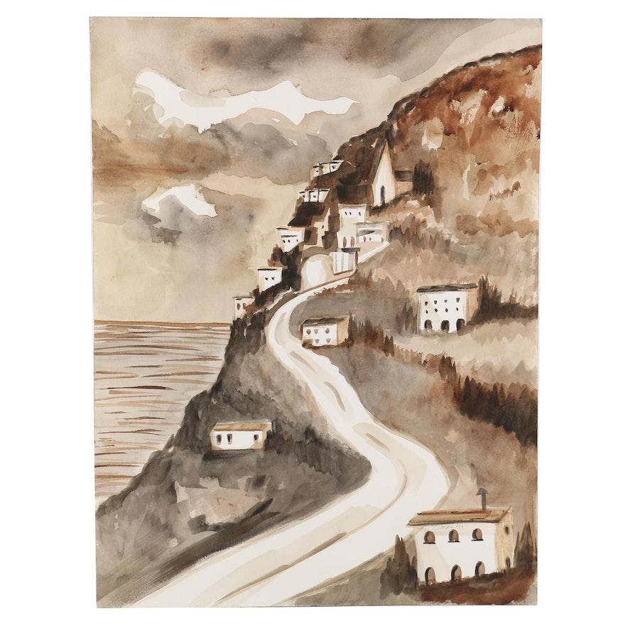 Kathleen Zimbicki Watercolor Painting of Coastal Village