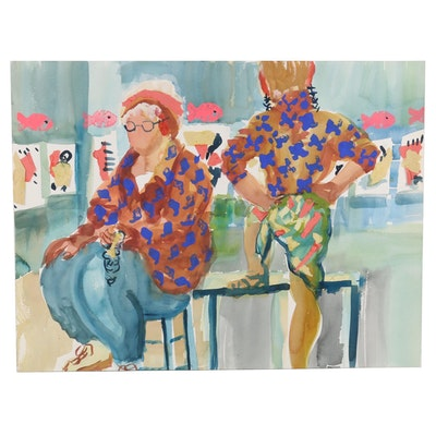 Kathleen Zimbicki Watercolor Painting of Figures at a Gallery