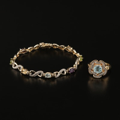 Sterling Topaz and Diamond Floral Ring and Multi-Stone Infinity Link Bracelet