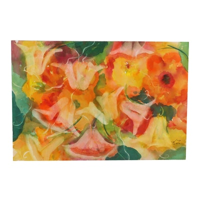 Kathleen Zimbicki Abstract Floral Watercolor Painting