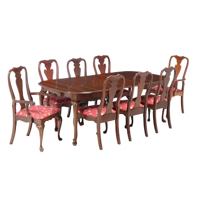 Queen Anne Style Walnut Dining Set with Leaf Inserts, Late 20th Century