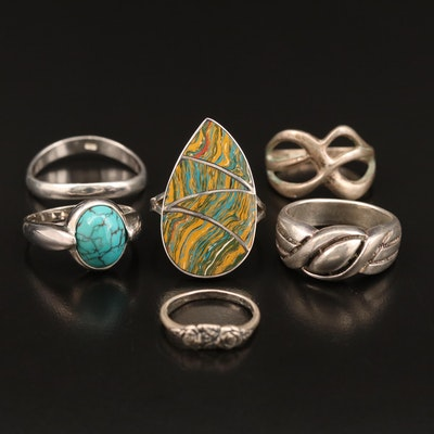 Assorted Sterling Silver Rings Featuring Turquoise and Glass Inlay Accents