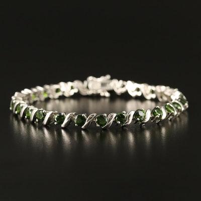 Sterling Silver Diopside Link Bracelet