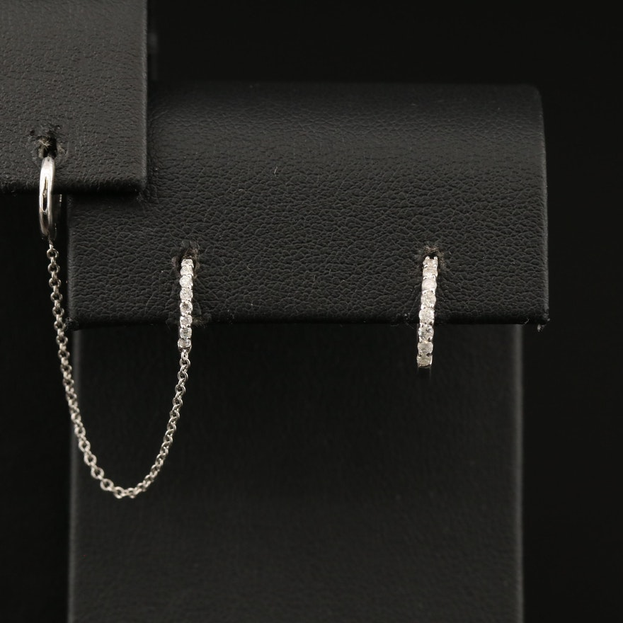 14K Diamond Huggie Asymmetrical Earring Set