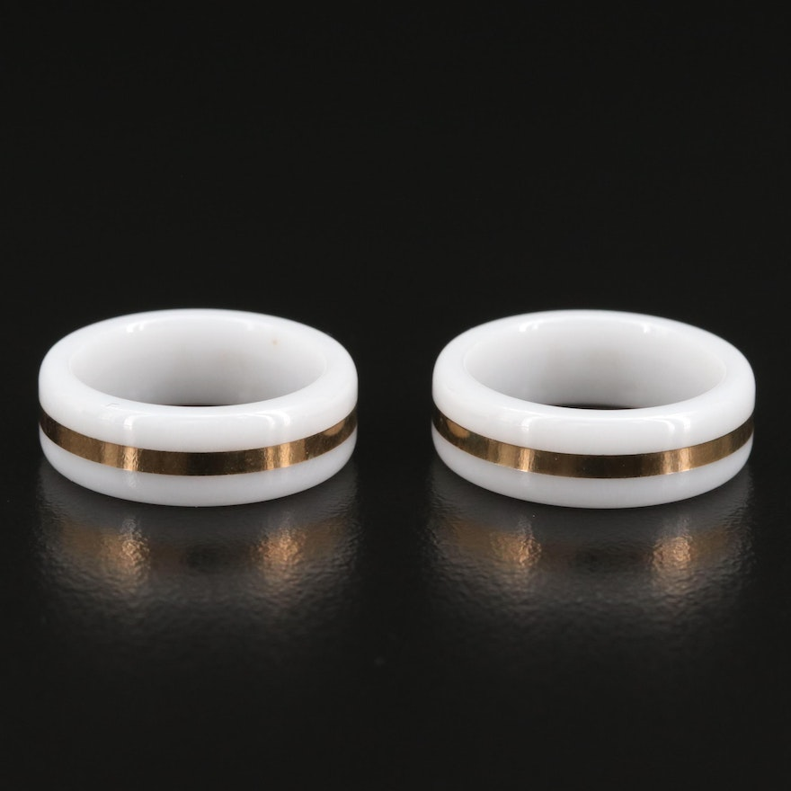 White Ceramic 14K Bands