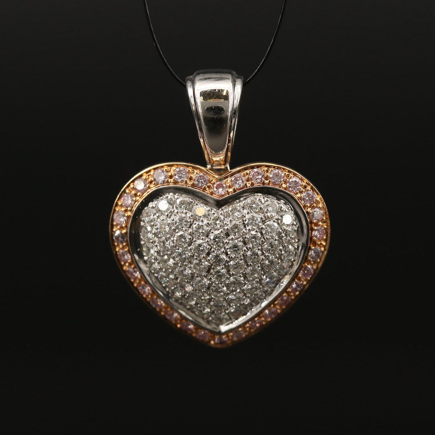 18K Pavé Diamond Heart Pendant Including Fancy Pink Diamonds