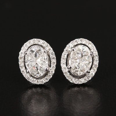 14K 1.13 CTW Diamond Halo Stud Earrings