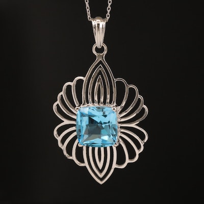 Sterling Silver Topaz Pendant Necklace
