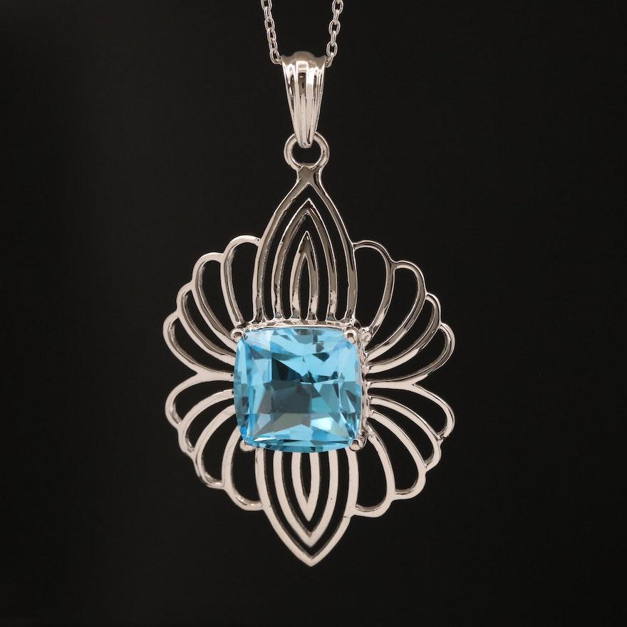 Sterling Silver Topaz Pendant Necklace