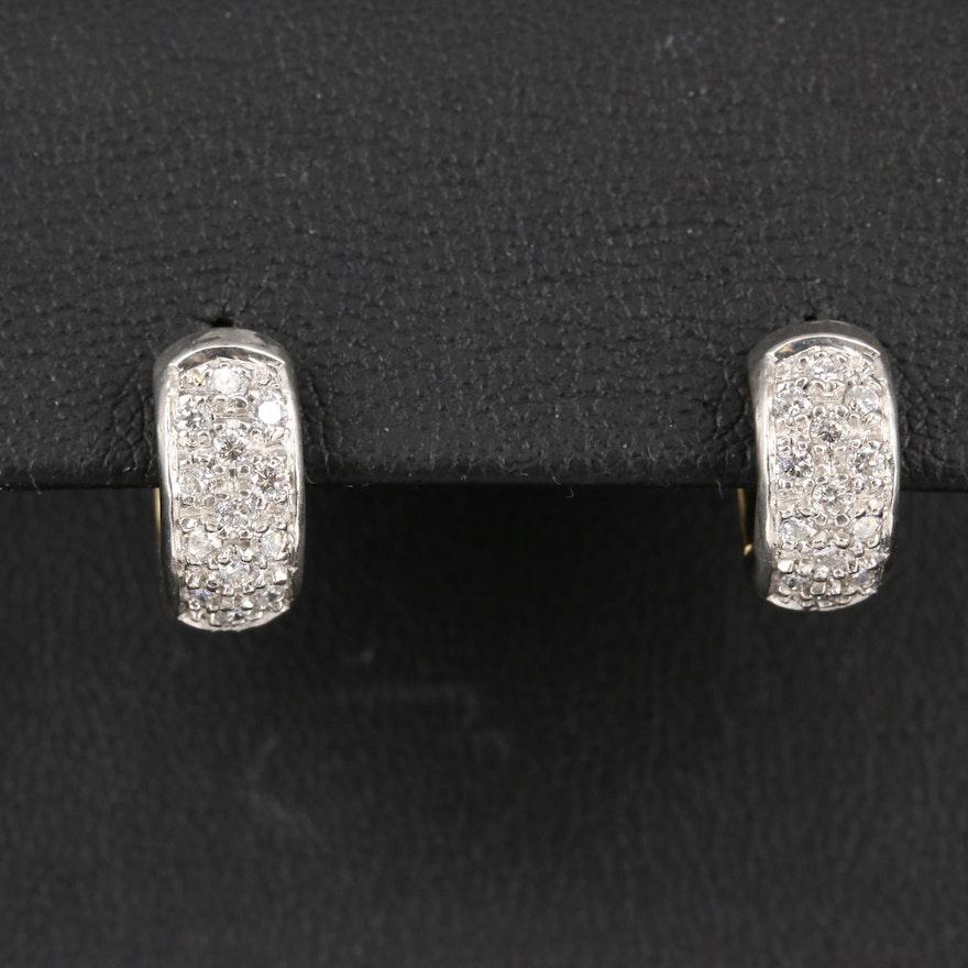 Platinum and 18K Diamond Huggie Earrings