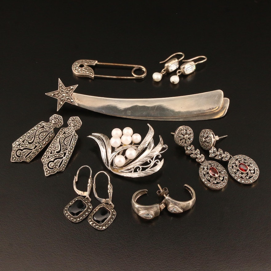 Assorted Sterling Jewelry Selection Featuring Judith Jack and Carolee