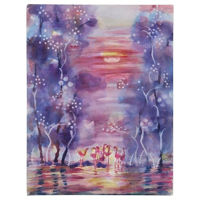 Kathleen Zimbicki Abstract and Landscape Double-Sided Watercolor Paintings