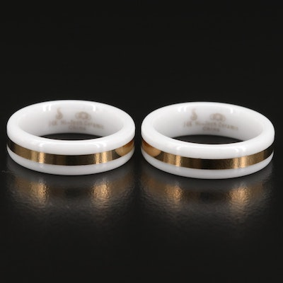 White Ceramic Bands with 14K