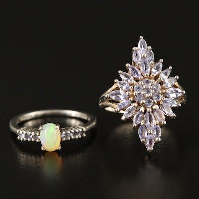 Sterling Silver Tanzanite and Opal Rings
