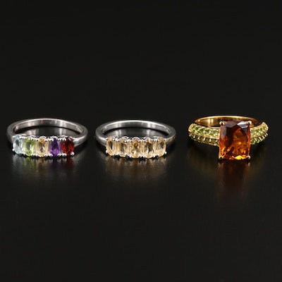 Sterling Silver Ring Selection Featuring Citrine, Amethyst and Topaz Accents