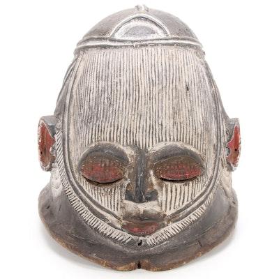Igala Style Wooden Polychrome Helmet Mask, Nigeria