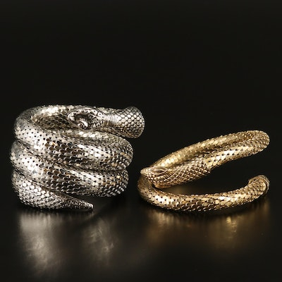 Coiled Snake Mesh Bracelets Featuring Whiting and Davis Gold Tone Bracelet