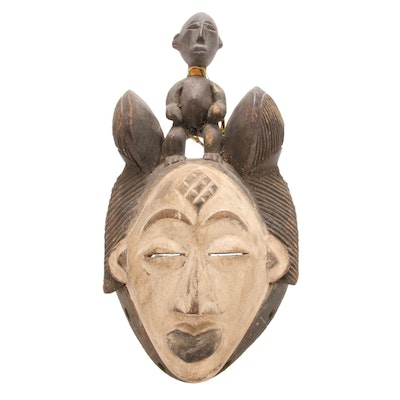 Punu Style Wooden Mask with Figure, Central Africa