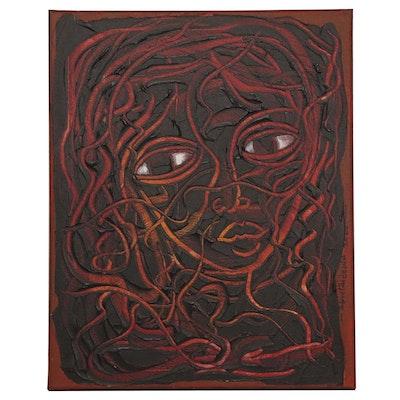 "Abiola Idowu Mixed Media Painting ""Love,"" 2020"