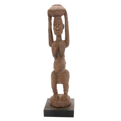 Dogon Wooden Maternity Figure with Bowl, Mali