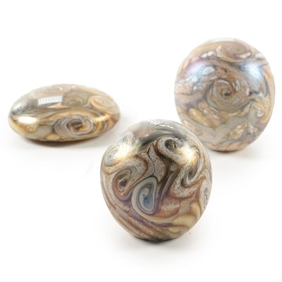 "Gozo Maltese ""Stone"" Art Glass Paperweights"