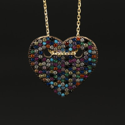 Sterling Pavé Cubic Zirconia Heart Necklace