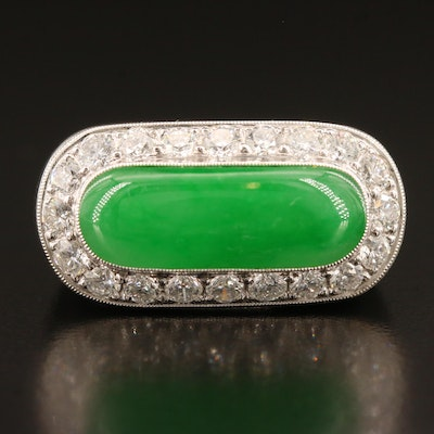 18K Jadeite and Diamond Ring