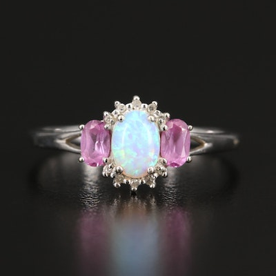 10K Opal, Sapphire and Diamond Ring