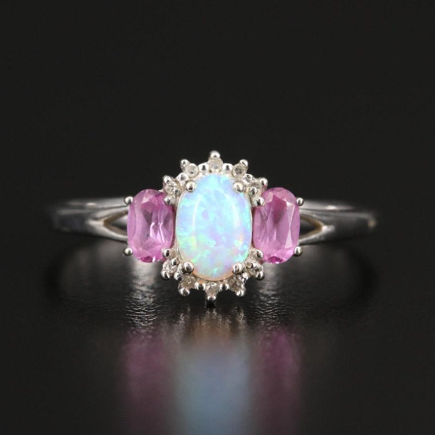 10K Opal, Sapphire and Diamond Ring