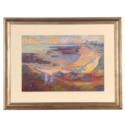 Lucian Neuquelman Pointilist Seascape Oil Painting