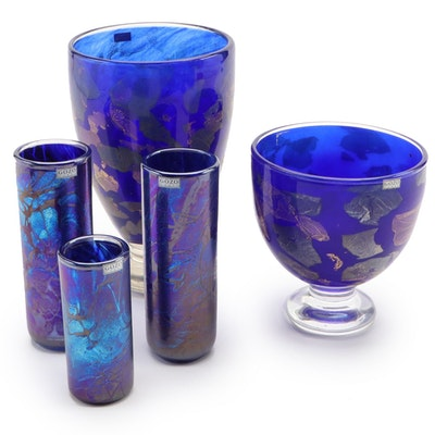 "Gozo Glass ""Midnight Collection"" and Blue Maltese Art Glass Vases"