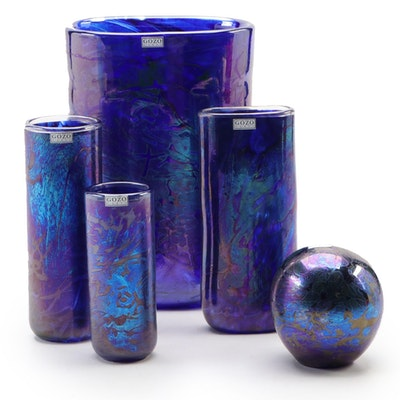 "Gozo Glass ""Midnight Collection"" Maltese Art Glass Vases and Paperweight"