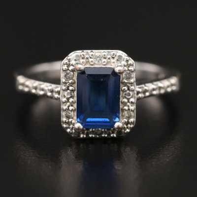 Blue Glass and Cubic Zirconia Halo Ring