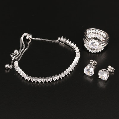 Sterling Cubic Zirconia Bracelet, Ring and Earrings