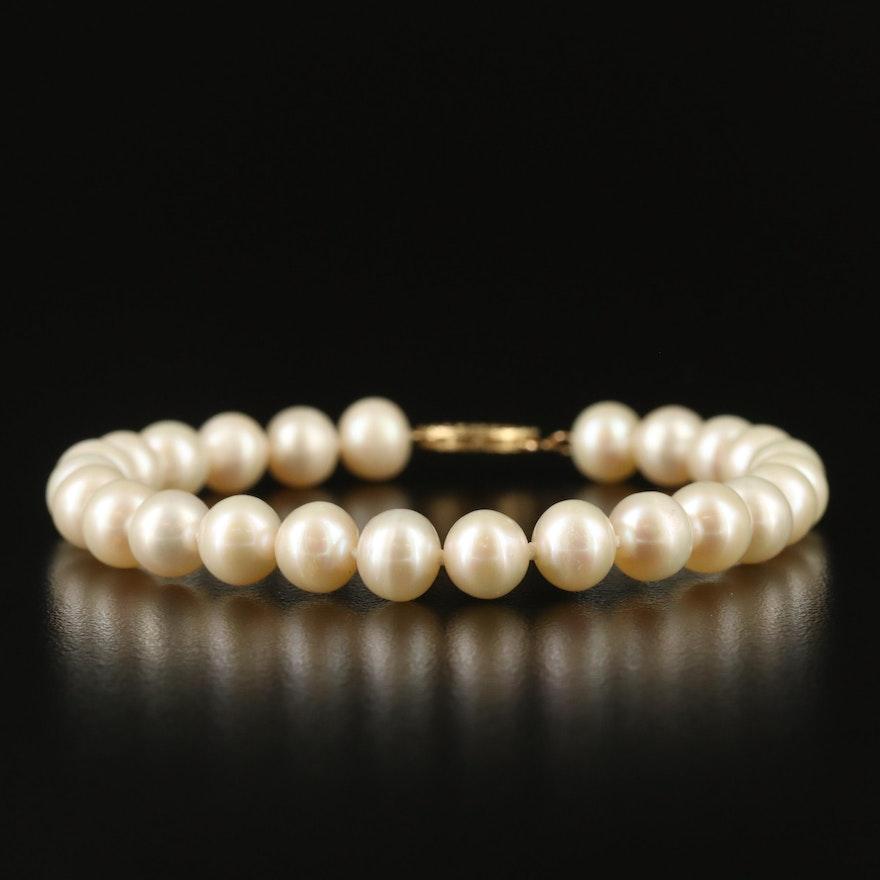 Semi-Baroque Pearl Bracelet with 14K Clasp