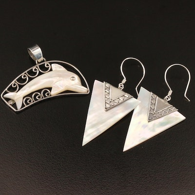 Sterling Mother of Pearl Dolphin Pendant and Dangle Earrings