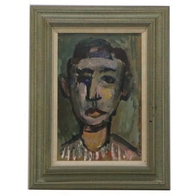 """Joseph Jankowski Expressionist Style Oil Painting """"French Clown,"""" 1950"""