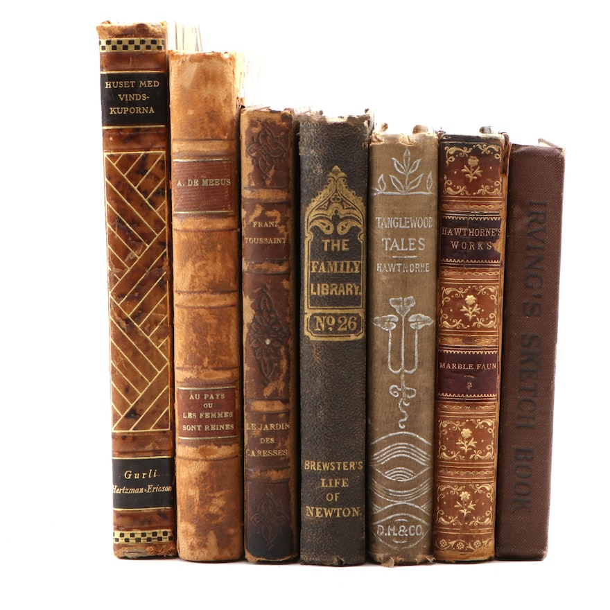 English, French, and Swedish Fiction and Nonfiction Books Including Irving