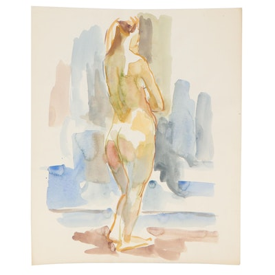 Yolanda Fusco Watercolor Painting of Nude Figure, Late 20th Century