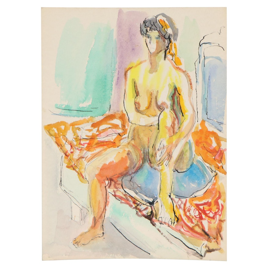 Yolanda Fusco Watercolor and Ink Painting of Woman, Mid-Late 20th Century