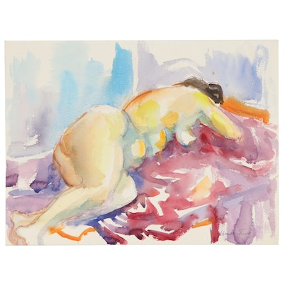 Yolanda Fusco Watercolor Painting of Sleeping Figure, Late 20th Century
